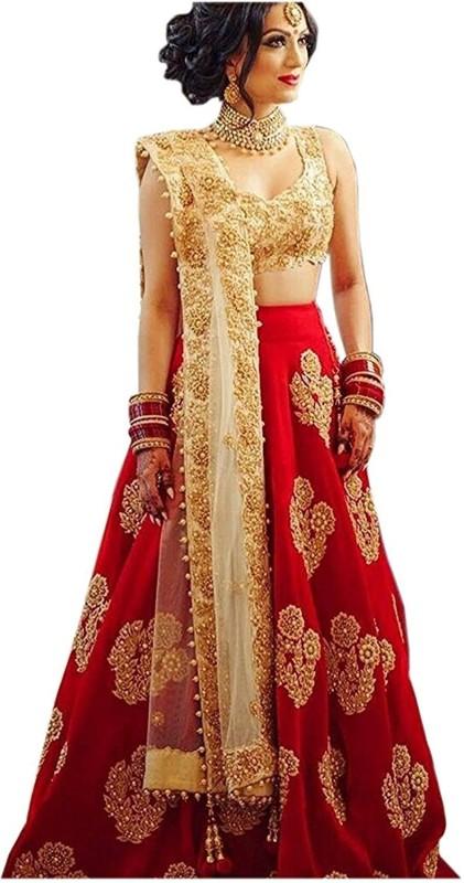 Florence Embroidered Lehenga, Choli and Dupatta Set(Red, Gold)