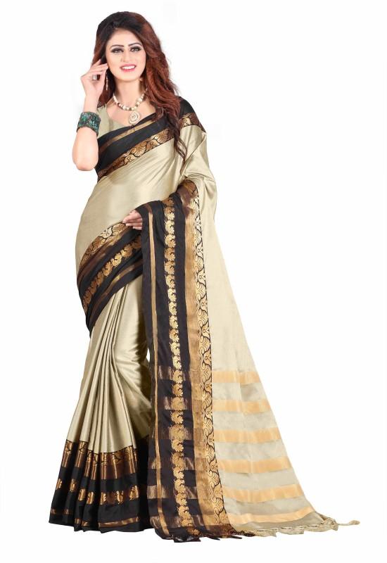 Fancy Fab Woven Coimbatore Cotton Silk Saree(Grey, Black)