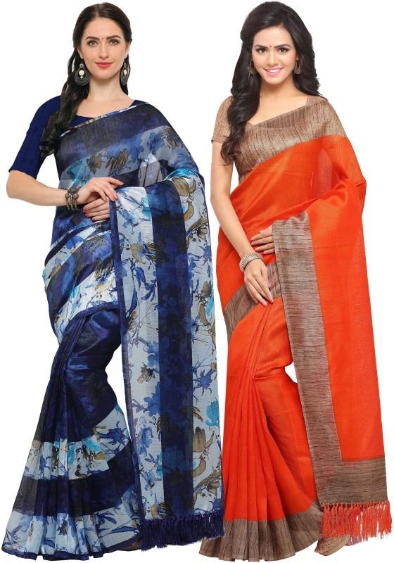 Rajnandini Printed Fashion Tussar Silk Saree(Pack of 2, Blue, Orange)