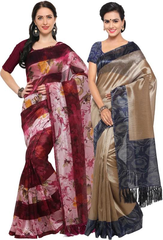 Rajnandini Printed Fashion Tussar Silk Saree(Pack of 2, Maroon, Beige)