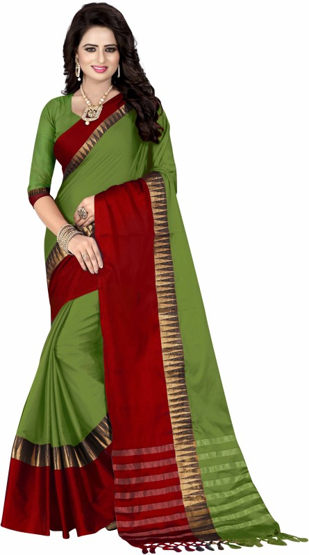 Bombey Velvat Fab Solid Daily Wear Cotton Silk, Cotton, Silk, Jacquard Saree(Green,...