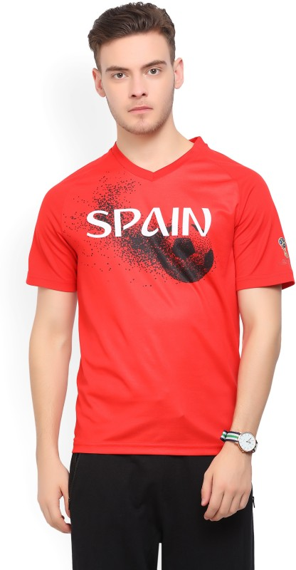 FIFA Spain Graphic Print, Typography Men V-Neck Multicolor T-Shirt