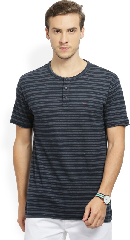 Tommy Hilfiger Striped Mens Henley Blue T-Shirt