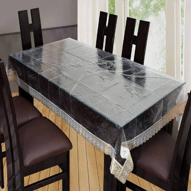 Aadya Shoppings Solid 6 Seater Table Cover(Transparent, Vinyl, PVC)