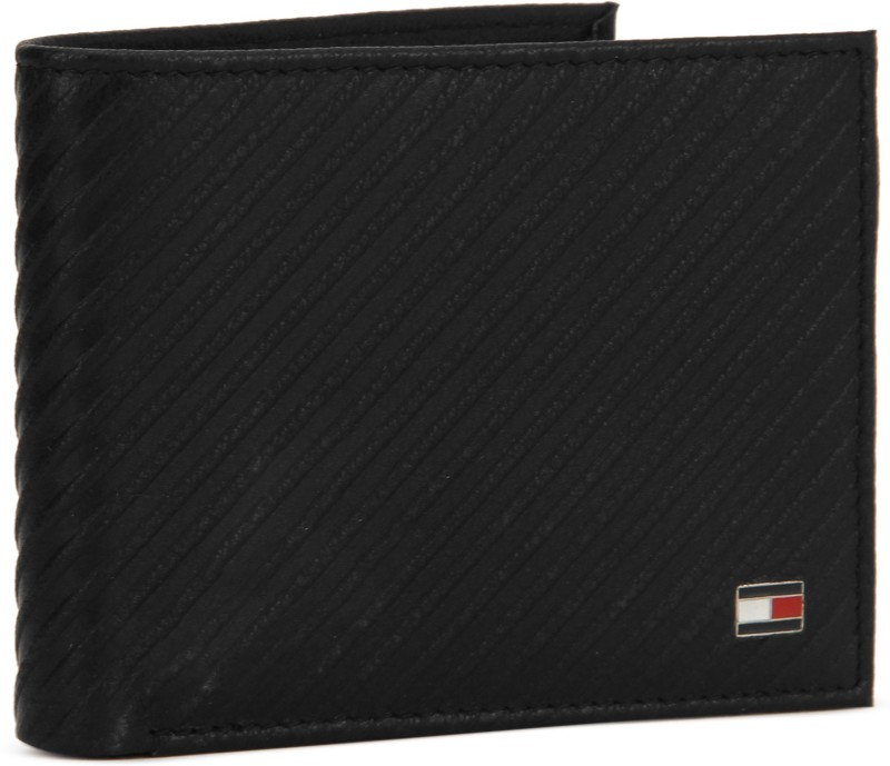 Tommy Hilfiger Men Casual Black Genuine Leather Wallet(12 Card Slots)
