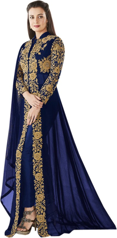 Trilok Fab Georgette Embroidered Dress/Top Material(Un-stitched)