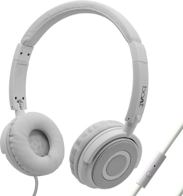 boAt BassHeads 900 Super Extra Bass Wired Headset with Mic(Pearl White, On the Ear)
