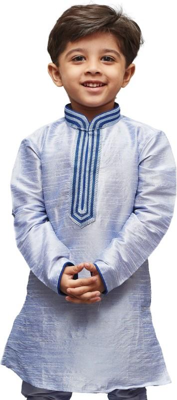 JBN Creation Boys Embroidered Straight Kurta(White)
