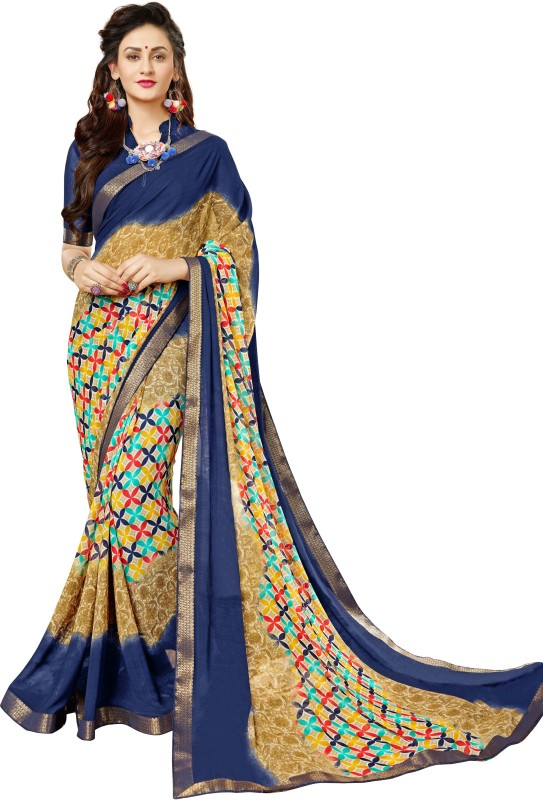 Sutram Printed Fashion Georgette Saree(Beige)