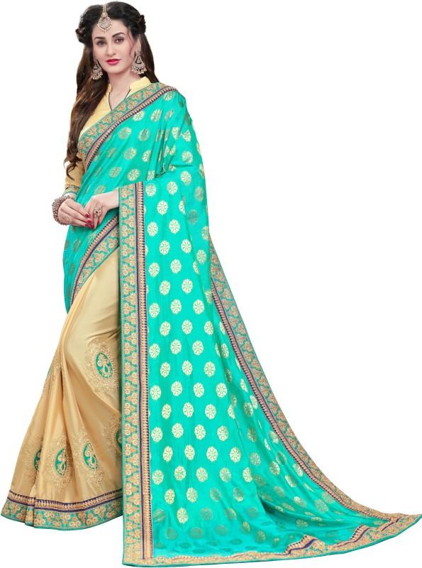Manohari Embroidered Fashion Pure Viscose Georgette Saree(Light Blue)
