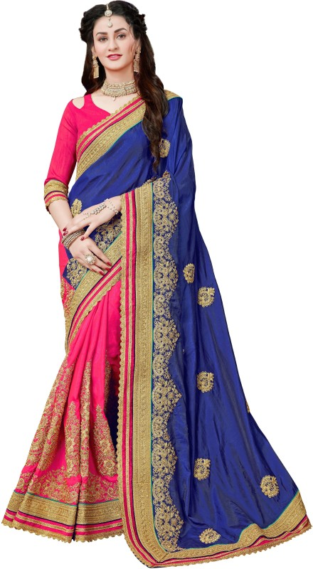 Manohari Embroidered Fashion Art Silk Saree(Blue)