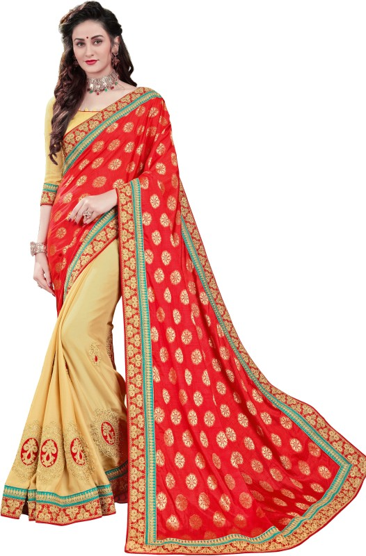Manohari Embroidered Fashion Pure Viscose Georgette Saree(Red)