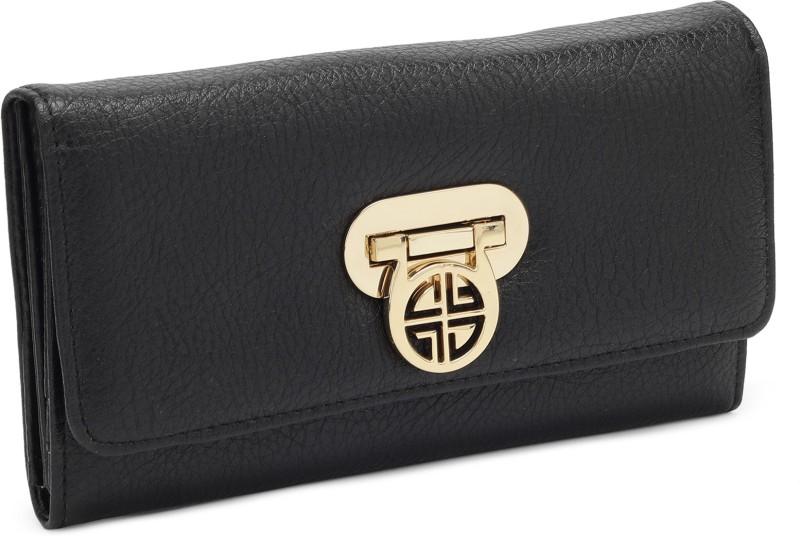Carlton London Women Evening/Party Black Artificial Leather Wallet(4 Card Slots)