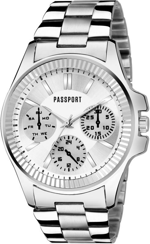 Passport Silver dial Stylish chronograph pattern Analog wrist watch for Men (OPTK-PG-77) Analog Watch  - For Men