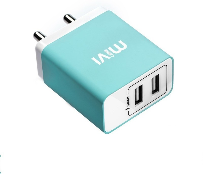 Mivi 3.1A Dual Port Smart Wall Mobile Charger(Blue)