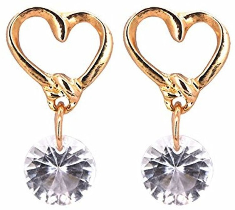 Shoppingworld19 Shopping World Newly Design Fashion Heart Shape Rhinestone Gold Plated Stud Earrings gift Girl Crystal Alloy, Crystal Drops & Danglers