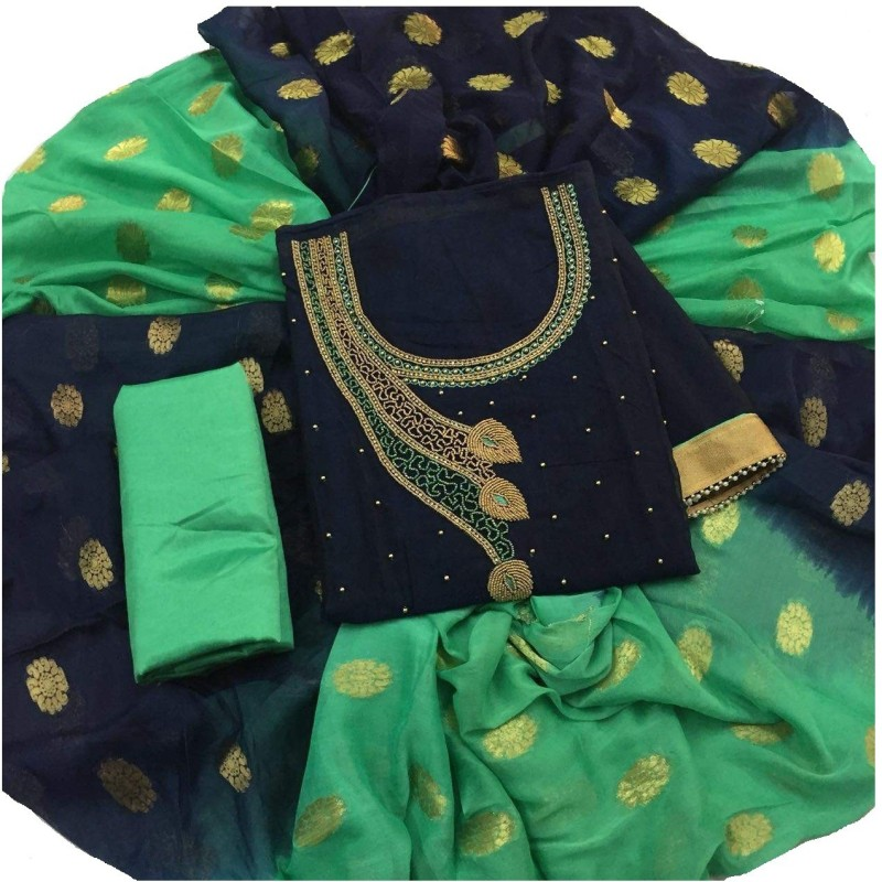 K shopping Chanderi Embroidered Salwar Suit Dupatta Material(Un-stitched)