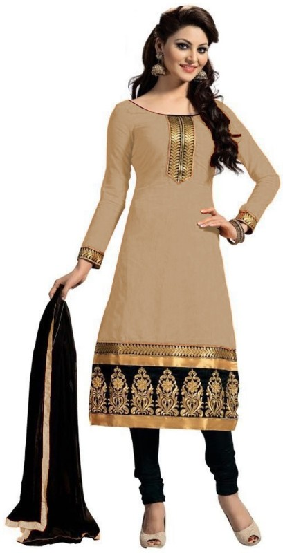 b05062ab0e HansCreation Cotton Embroidered Semi-stitched Salwar Suit Dupatta Material