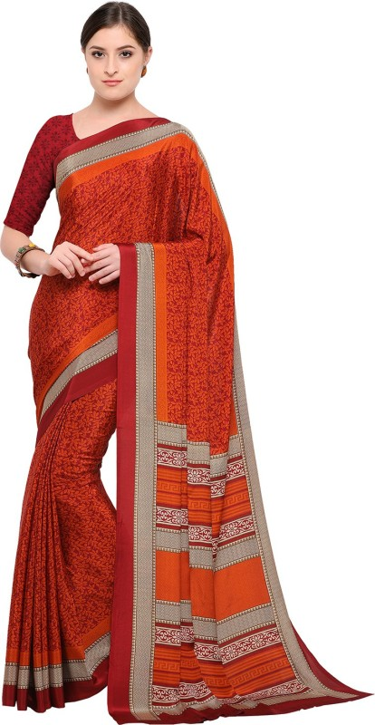Ratnavati Printed, Digital Prints Daily Wear Crepe Saree(Maroon, Orange)
