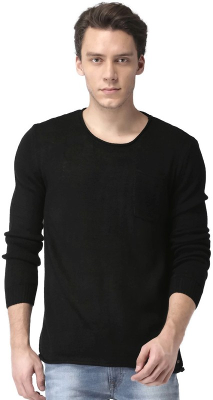 Mast & Harbour Solid Round Neck Casual Men Black Sweater