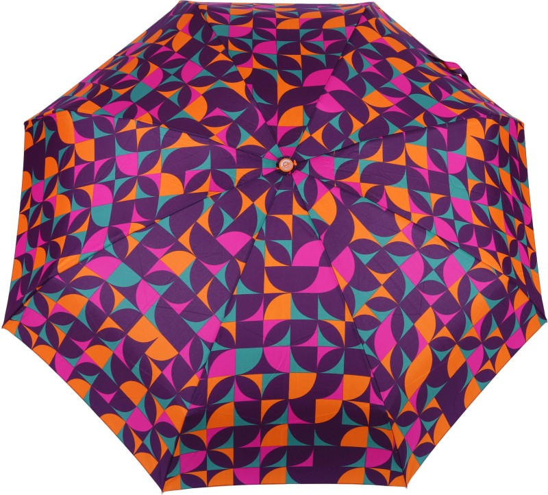 FabSeasons 5 fold Orange Digital Printed Small Compact Manual Umbrella which fits in your Handbag for women Umbrella(Multicolor)