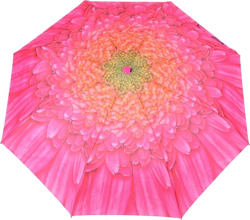 FabSeasons Flower / Floral Digital Pink & Orange Printed Semi Automatic 3 fold Umbrella for Rains, Summer and all Seasons Umbrella(Pink)