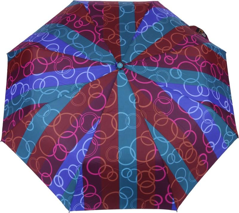 FabSeasons Abstract circle Purple Digital Printed Automatic 3 fold Umbrella for Rains, Summer and all Seasons Umbrella(Purple)