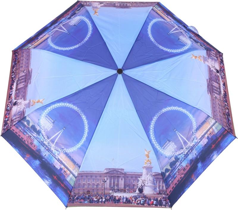 FabSeasons London Digital Printed, 3 Fold Fancy Semi Automatic Umbrella for Rains, Summer and all seasons Umbrella(Blue)