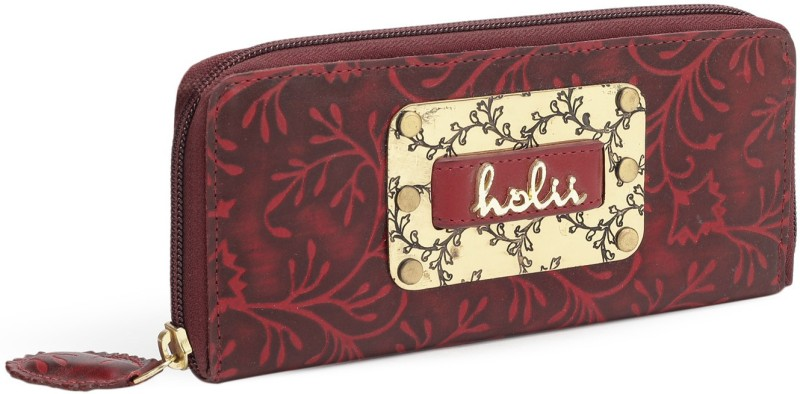 Holii Women Casual, Evening/Party Red, Black Genuine Leather Wallet(8 Card Slots)