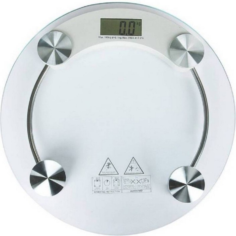 Piu Collection Personal Health Human Body Weight Machine 8 mm Round Glass Weighing Scale(White)