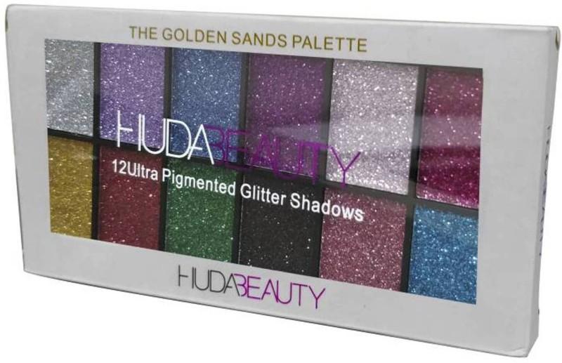 Huda Beauty GLITTER EYESHADOWS 12 ULTRA PIGMENTED GOLDEN SANDS SHIMMER PALLETE 24 g(MULTICOLOR)