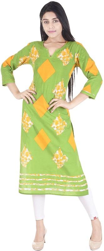 Jai Kurties Women's Printed Straight Kurta(Green)