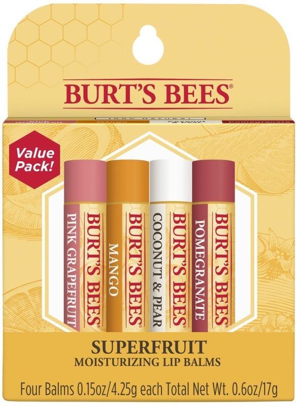 Burts Bees 100% Natural Moisturizing Lip Balm, Superfruit,0.15 oz. each, 4 Superfruit(17 g)