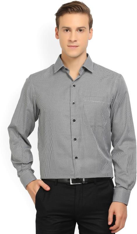 John Players Men's Self Design Formal Black Shirt