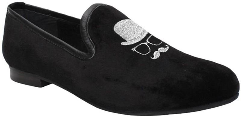 Bare Skin Velvet Slip-On Loafers For Men(Black)