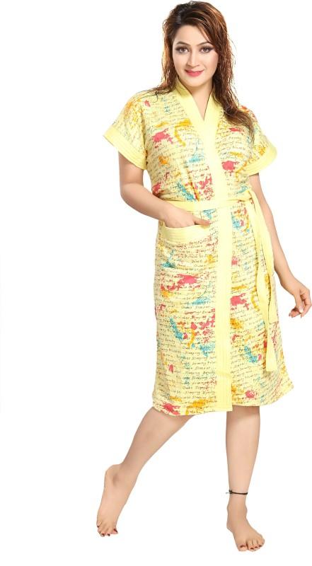 Rangmor Light Yellow Free Size Bath Robe(1 Bath Robe, For: Women, Light Yellow)