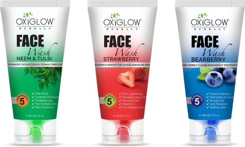 Oxyglow Bearberry + Strawberry + Neem & Tulsi Pack of 3 face wash Face Wash(300 g)