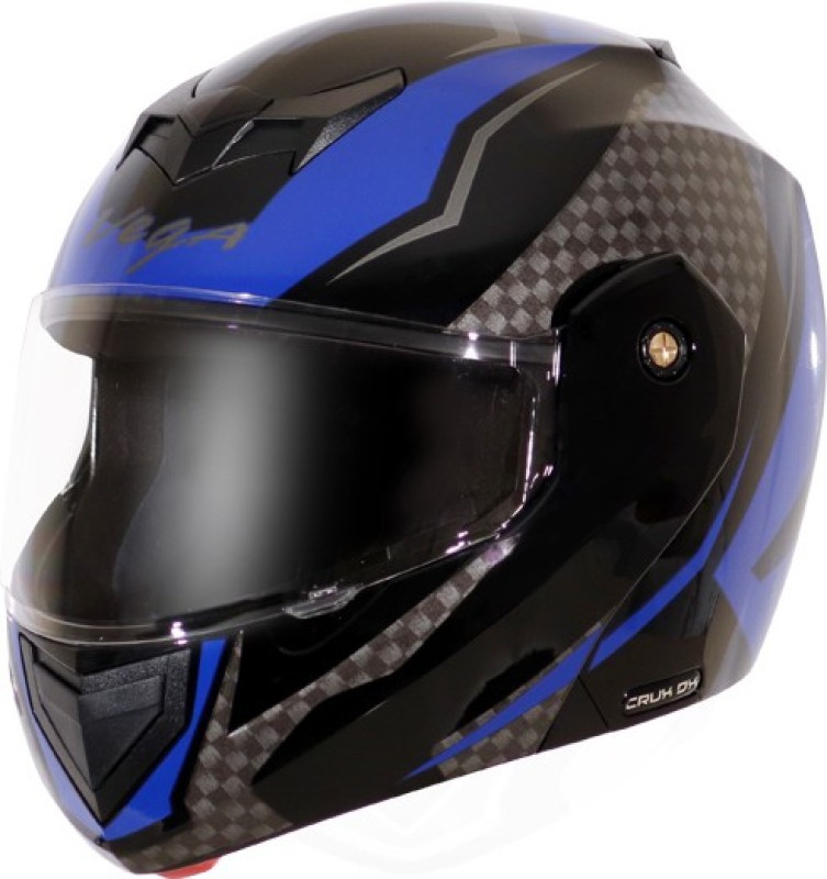 VEGA CRUX DX CHECKS BLACK BLUE HELMET Motorbike Helmet(BLACK BLUE)
