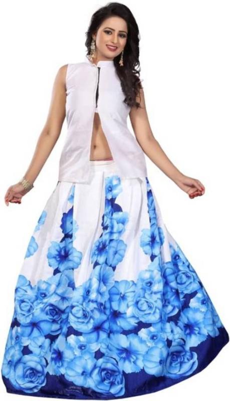 Omstar Fashion Block Print Semi Stitched Lehenga Choli(Light Blue)