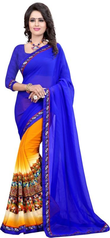 Fancy Fab Printed Daily Wear Georgette Saree(Blue)