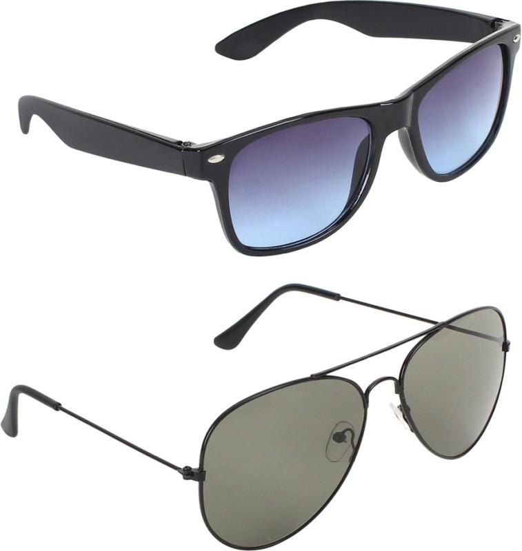 Zyaden Wayfarer, Aviator Sunglasses(Blue, Green) image