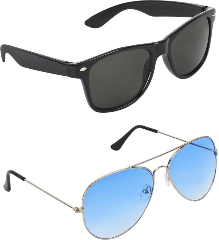 Zyaden Wayfarer, Aviator Sunglasses(Green, Blue) image