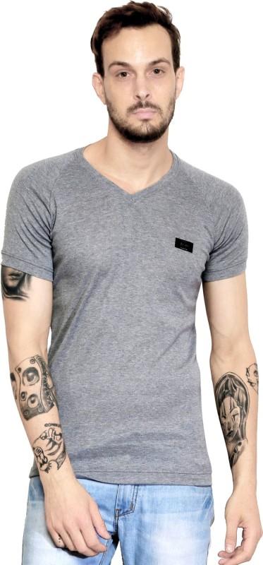 AD & AV Solid Men V-neck Silver T-Shirt