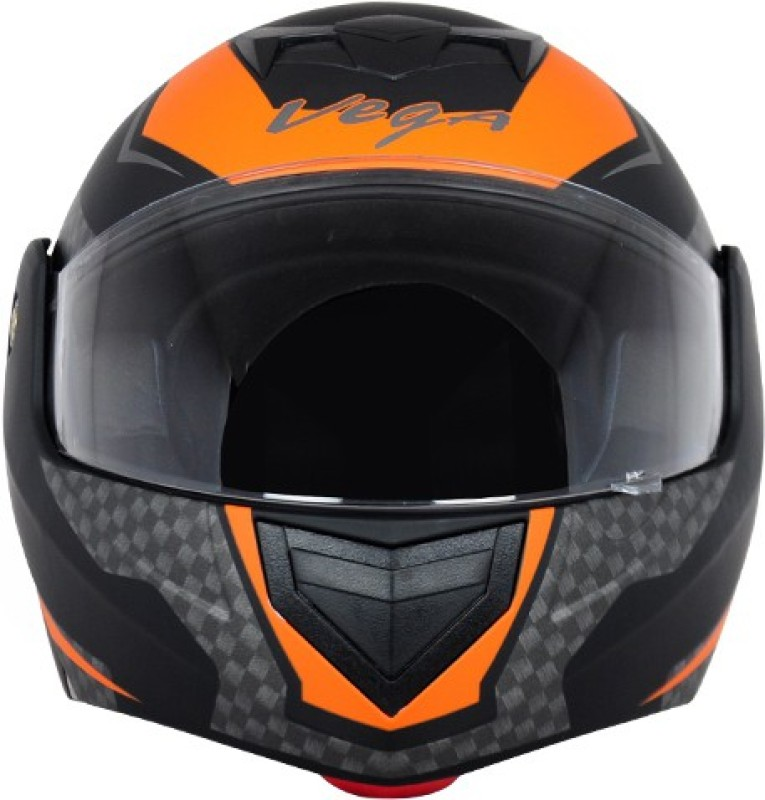 VEGA CRUX DX CHECKS DULL BLACK ORANGE HELMET Motorbike Helmet(DULL BLACK ORANGE)