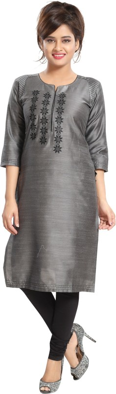 Meher Impex Women Embroidered Straight Kurta(Grey, Black)