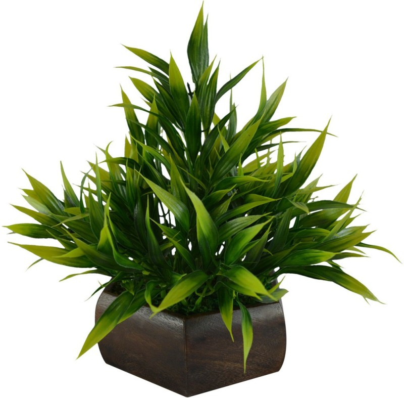 Fancymart Bamboo Leave Artificial Plant Green Wild Flower Artificial Flower with Pot(8 inch, Pack of 1)