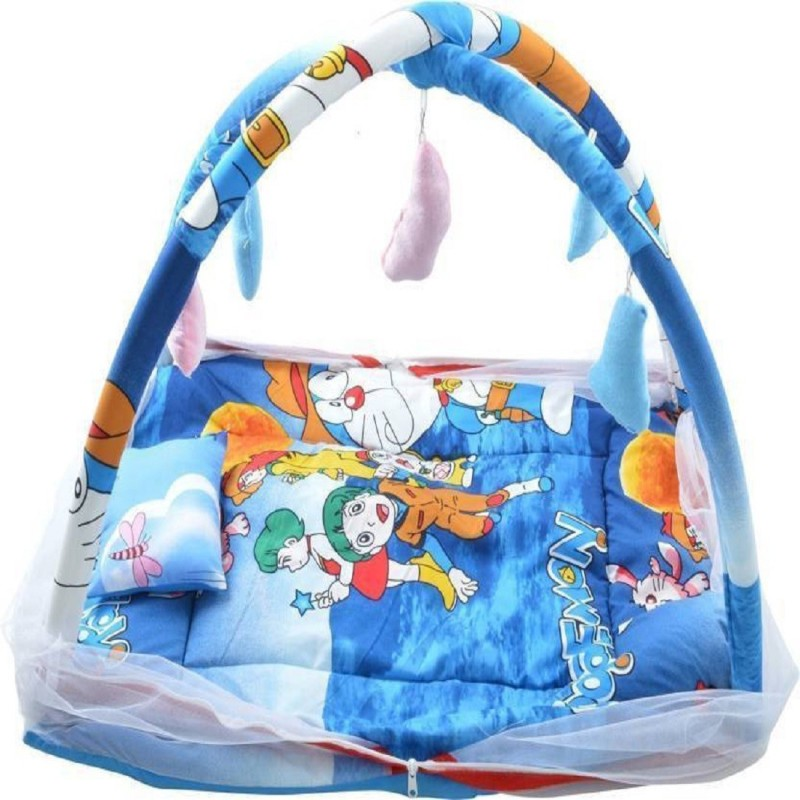 babique Cotton Kids BED CUM WITH MOSQUITO NET Mosquito Net (Angry Bird) KIDS CRIB(COTTON, Blue)