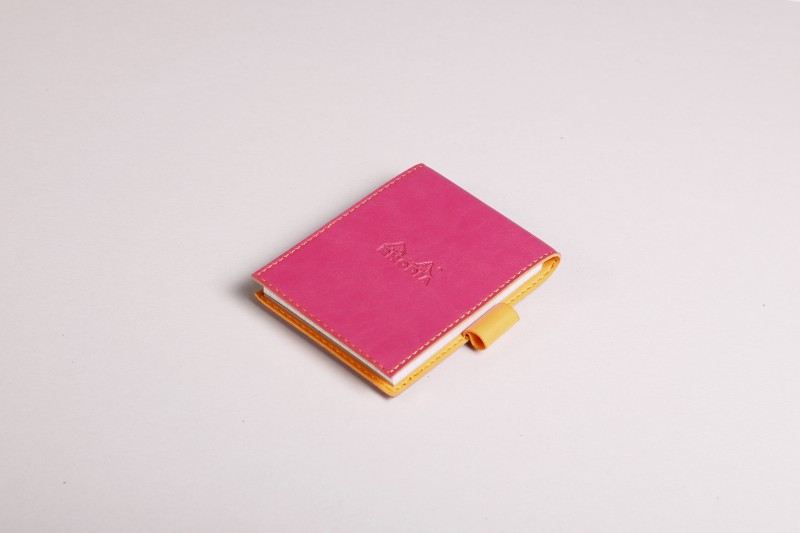 Rhodia 138212C Boutique rama Raspberry Stapled Line Ruled Notepad with Leatherette Cover - No. 13 - 158 mm x 115 mm (for No. 13 Notepad - 148 mm x 105 mm A6 Note Pad 160 Pages(Raspberry)
