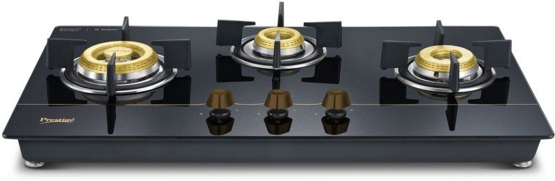 Prestige Gold Hobtop PHTG - 03 Glass Automatic Gas Stove(3 Burners)