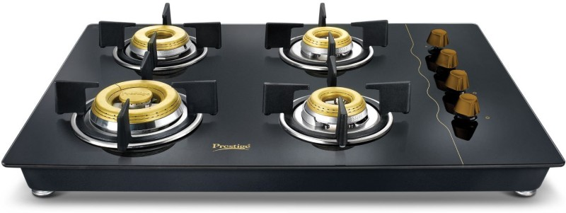 Prestige Gold Hobtop PHTG - 04 Glass Automatic Gas Stove(4 Burners)